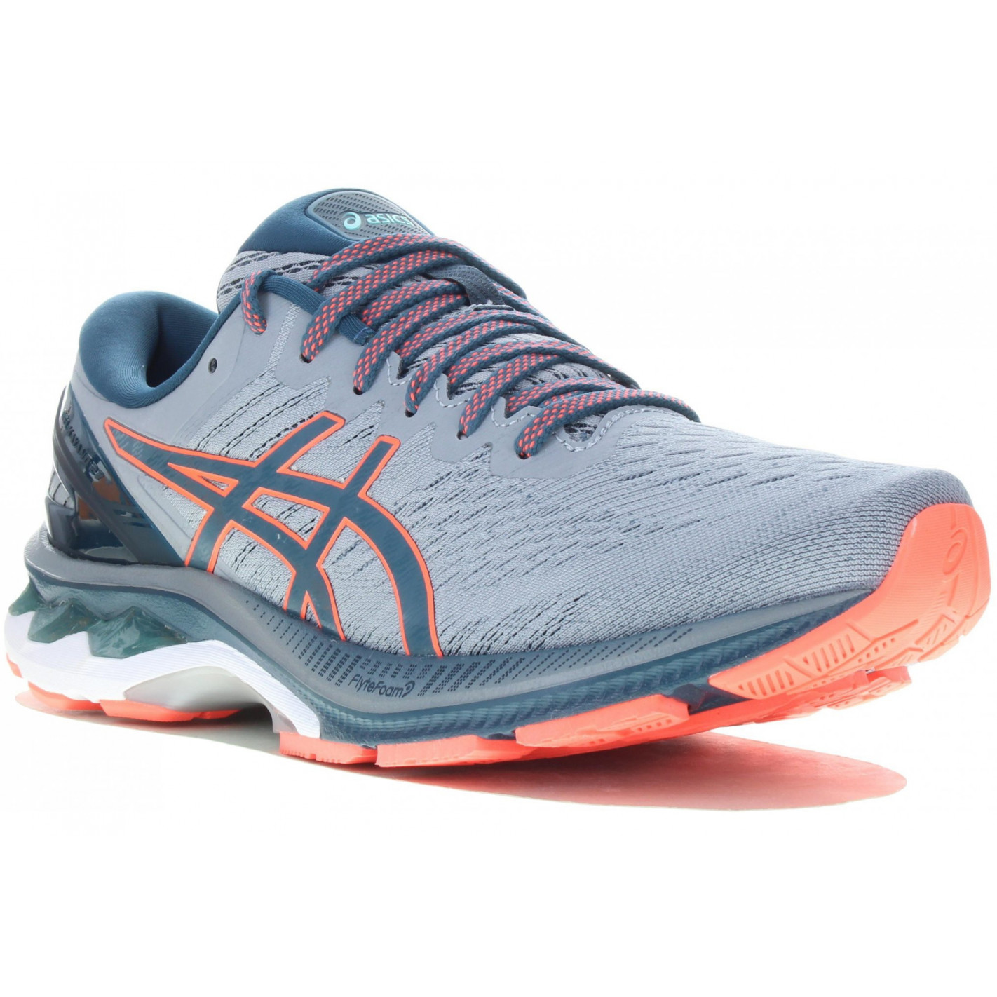 Chaussures Running ASICS Homme GEL-KAYANO 27 Gris / Bleu / Fushia ...