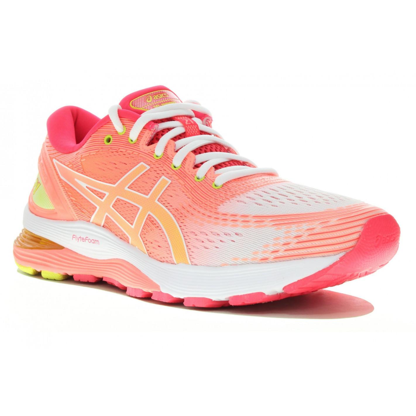 Chaussures Running ASICS Femme GEL-NIMBUS 21 Blanc / Corail Fluo ...