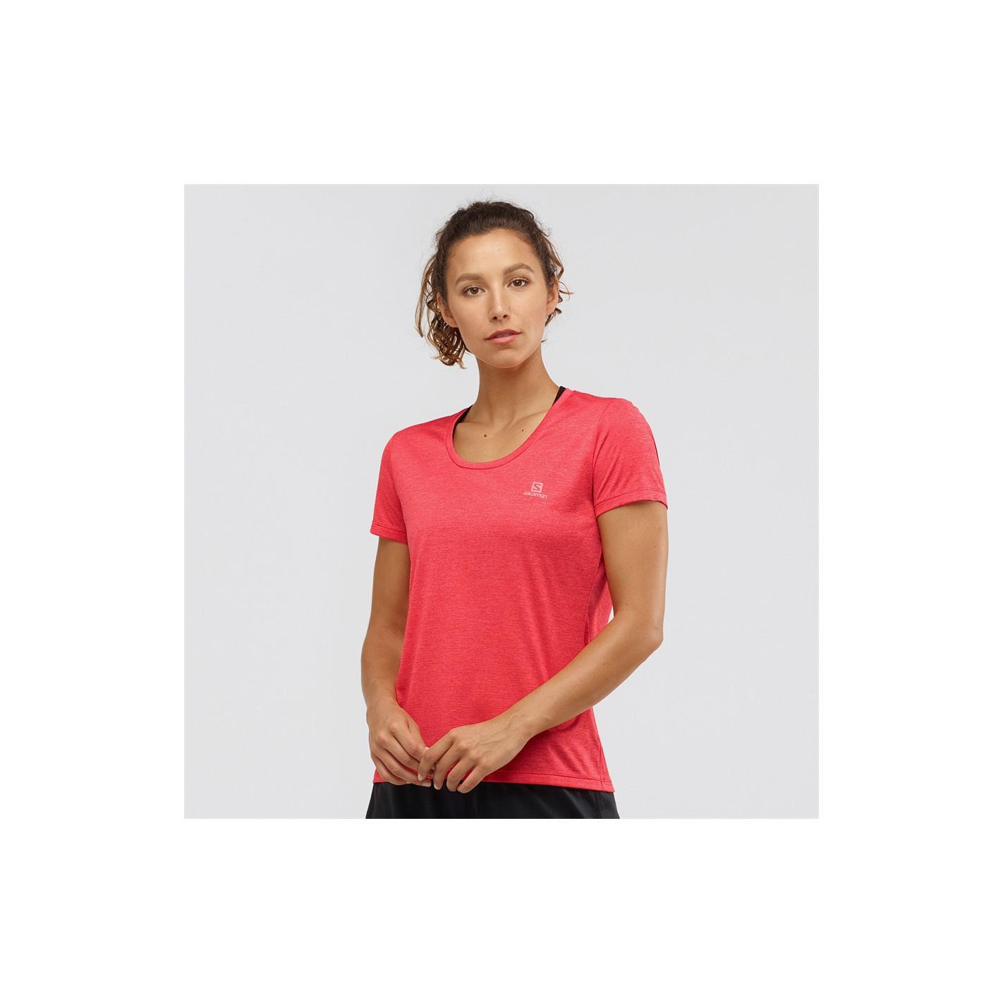 T Shirt Running SALOMON Femme AGILE SS Tee Saumon PE 2020