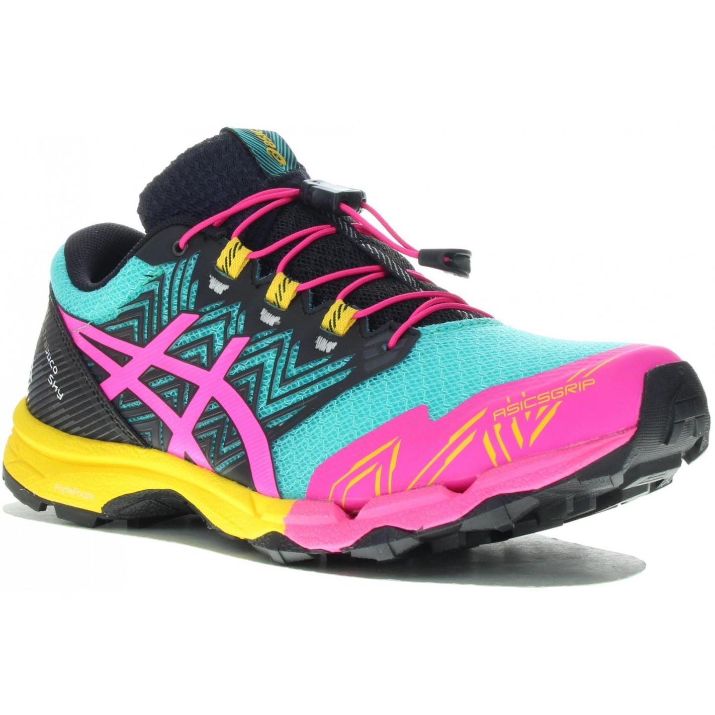 Chaussures Running ASICS Femme GEL-FUJITRABUCO Sky Noir / Rose AH ...
